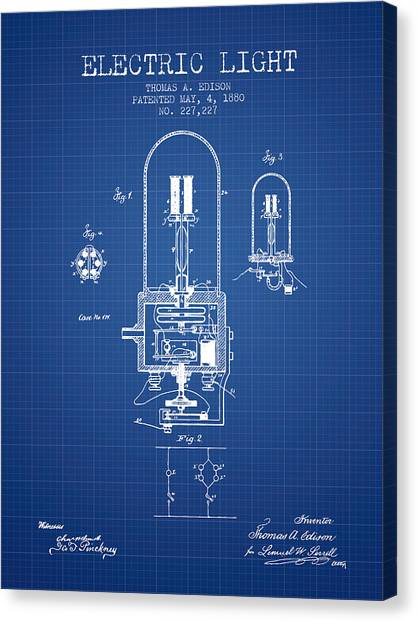 Electric Light Canvas Print - Electric Light Patent From 1880 - Blueprint by Aged Pixel