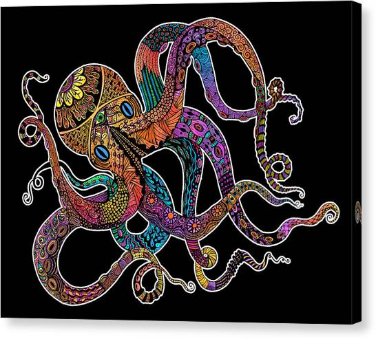 Electric Octopus On Black Canvas Print