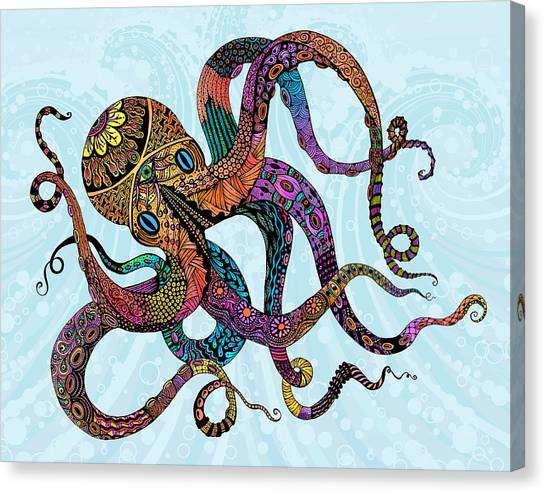 Octopus Canvas Print - Electric Octopus by Tammy Wetzel