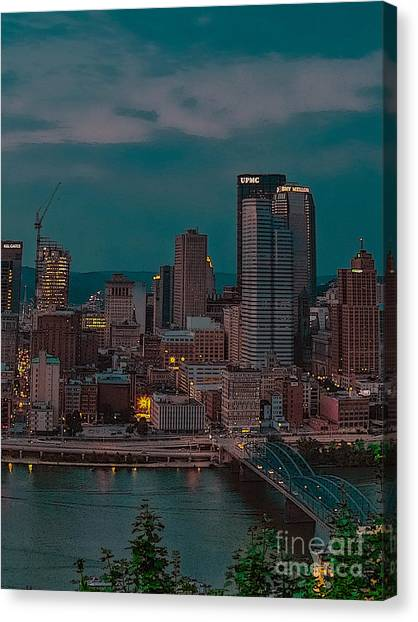 Electric Steel City Canvas Print