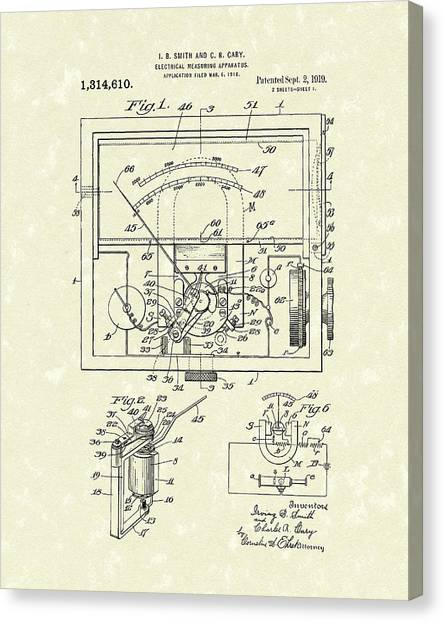 Canvas Print featuring the drawing Electrical Meter 1919 Patent Art by Prior Art Design