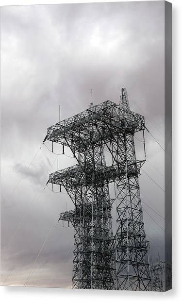 American Steel Canvas Print - Electrical Transmission Tower by Jim West