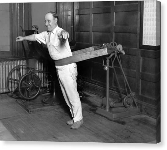 Workout Canvas Print - Electrical Vibrating Machine by Underwood Archives