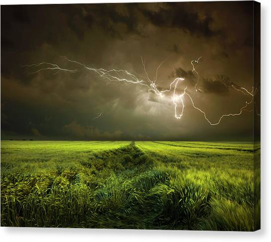 Thunderstorms Canvas Print - Electrically In Summer by Franz Schumacher