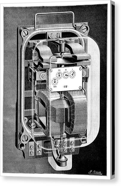 1880s Canvas Print - Electricity Meter by Science Photo Library