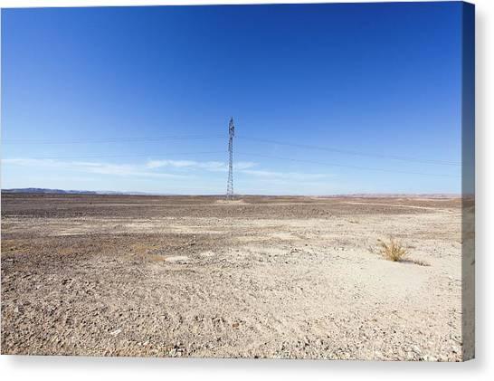 Negev Desert Canvas Print - Electricity Pylon In Desert by Photostock-israel