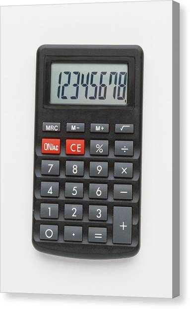 Electronic Instruments Canvas Print - Electronic Calculator With Lcd Display by Dorling Kindersley/uig