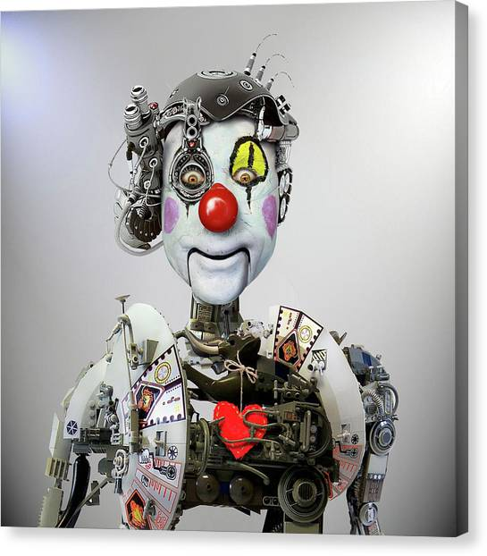 Head Canvas Print - Electronic Clown by