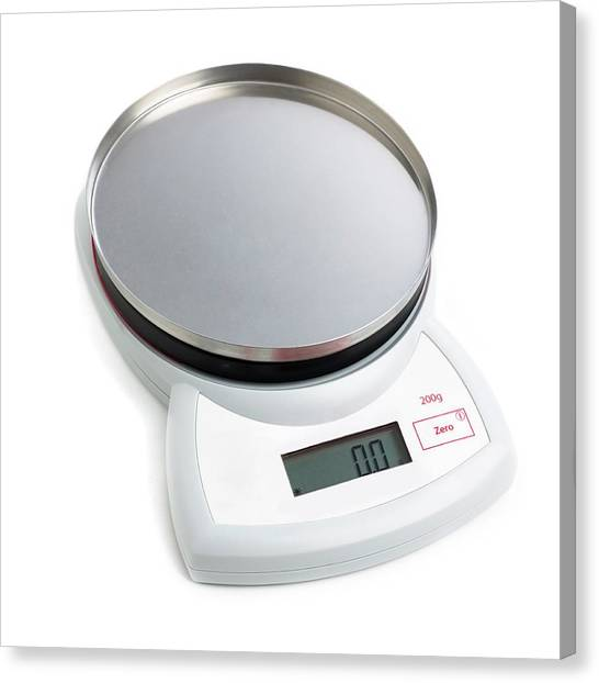 Electronic Instruments Canvas Print - Electronic Weighing Scales by Science Photo Library