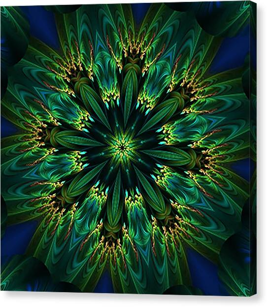 Elegance Green Kaleidoscope Canvas Print