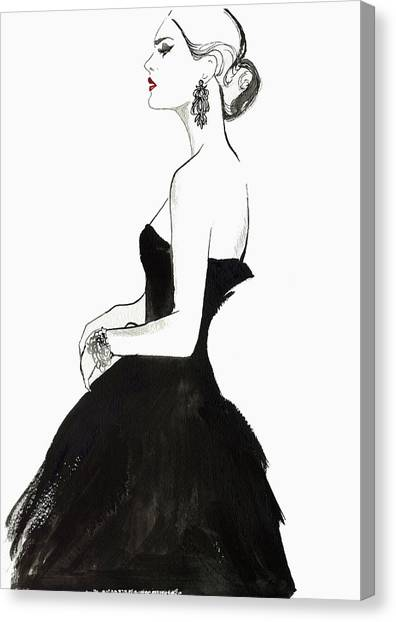 Elegant Haughty Woman Wearing Strapless Canvas Print by Jessica Durrant