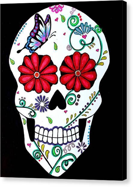 Skull Canvas Print - Elegant Muerte by Brandy Nicole Neal Stenstrom