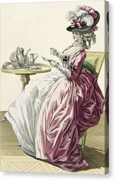 Fashion Plate Canvas Print - Elegant Woman In A Dress A Langlaise by Pierre Thomas Le Clerc