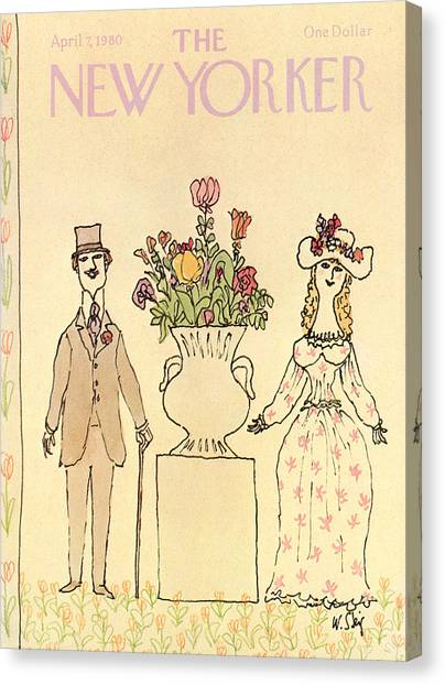 Elegantly Dressed Man And Woman Standing Next Canvas Print