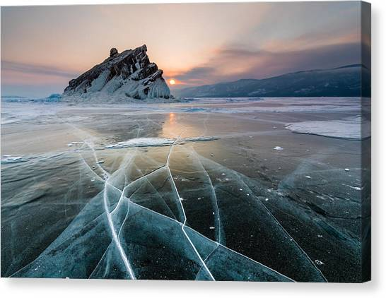 Elenka Island On Lake Baikal In Winter Canvas Print by Anton Petrus