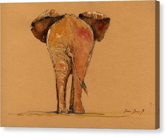 Elephants Canvas Print - Elephant Back by Juan  Bosco