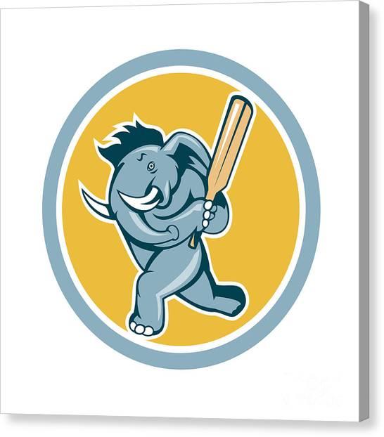 Cricket Players Canvas Print - Elephant Batting Cricket Bat Cartoon by Aloysius Patrimonio