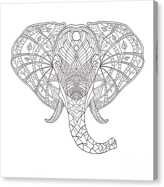 Mexican Canvas Print - Elephant. Black And White Hand Drawn by Fosin