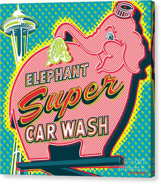 Space Needle Canvas Print - Elephant Car Wash And Space Needle - Seattle by Jim Zahniser