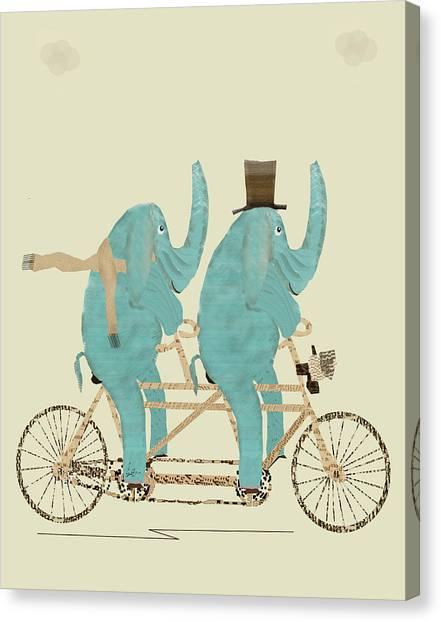 Colourfull Canvas Print - Elephant Days Lets Tandem by Bleu Bri