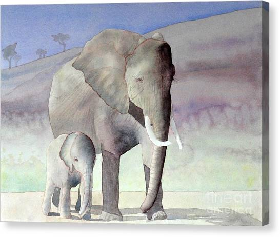 Elephant Family Canvas Print