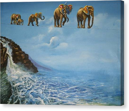 Elephant Family On A Tightrope Canvas Print by Barbara Gray