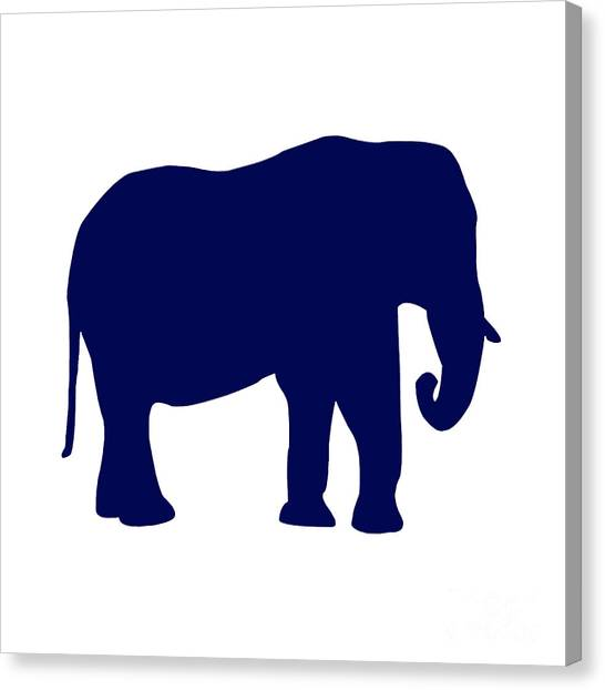 Elephant In Navy And White Canvas Print