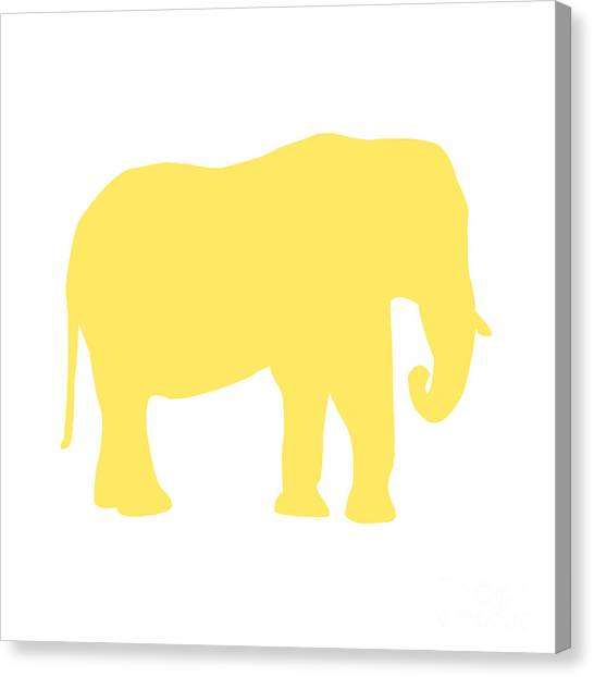 Elephant In Yellow And White Canvas Print
