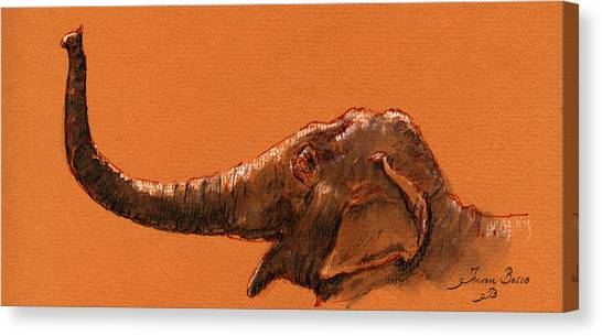 Ivory Canvas Print - Elephant Indian by Juan  Bosco