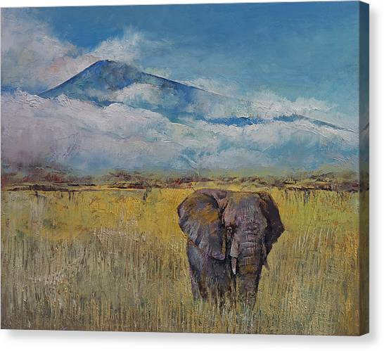 Mount Kilimanjaro Canvas Print - Elephant Savanna by Michael Creese