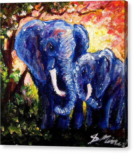 Elephant Mother Andduaghter Canvas Print by Sebastian Pierre