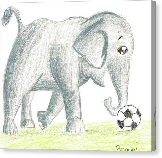 Elephant Playing Soccer Canvas Print by Raquel Chaupiz