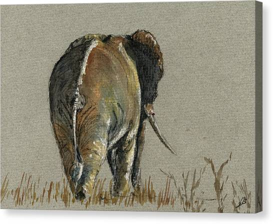 Ivory Canvas Print - Elephant Walking by Juan  Bosco
