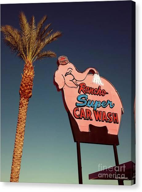 50s Canvas Print - Elephant Car Wash Rancho Mirage California by Jim Zahniser