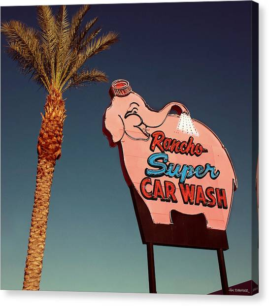 Mirages Canvas Print - Elephant Car Wash Rancho Mirage California by Jim Zahniser
