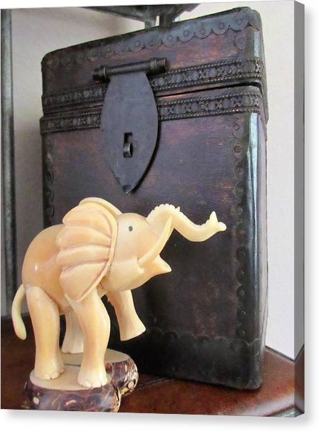 Elephant With Elephant Box Canvas Print