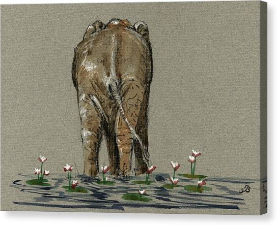 Ivory Canvas Print - Elephant With Water Lilies by Juan  Bosco