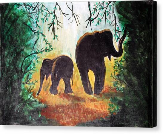 Elephants At Night Canvas Print