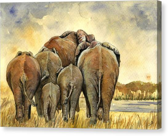 Ivory Canvas Print - Elephants Herd by Juan  Bosco
