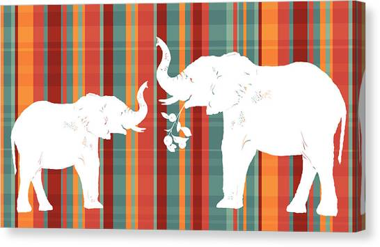 Plaid Canvas Print - Elephants Share by Alison Schmidt Carson