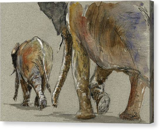 Ivory Canvas Print - Elephants Walking by Juan  Bosco
