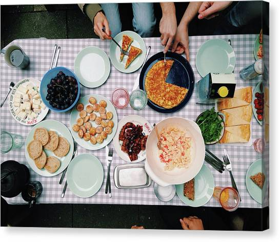 Elevated View Of A Variety Of Meals Canvas Print by Kirsty Lee / Eyeem
