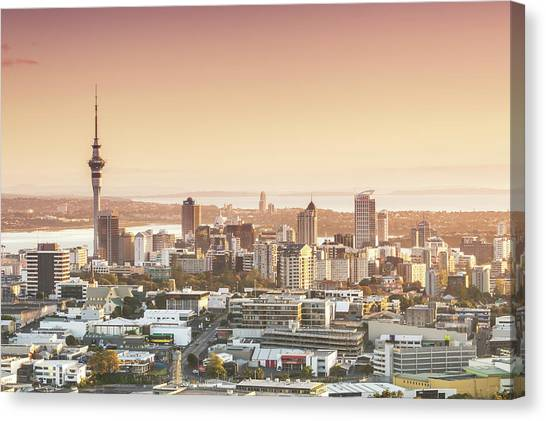 Elevated View Of Auckland City And Cbd Canvas Print by Matteo Colombo