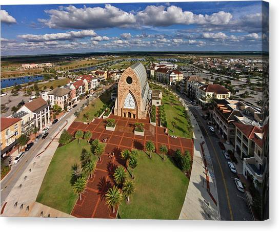Florida House Canvas Print - Elevated View Of Ave Maria Oratory by Panoramic Images