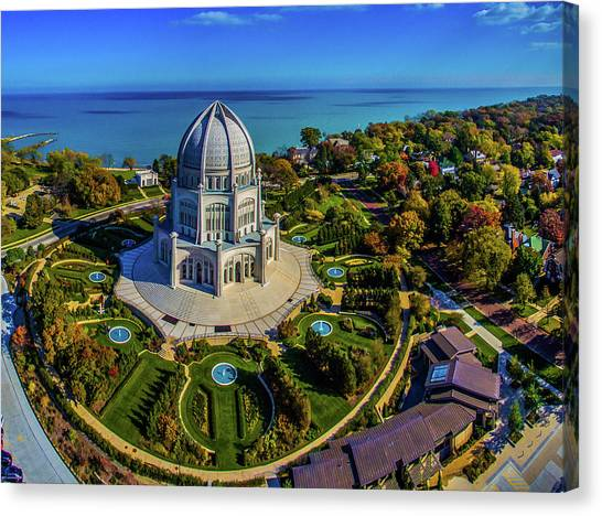 House Of Worship Canvas Print - Elevated View Of Bahai Temple by Panoramic Images