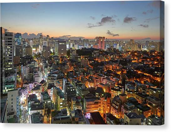 Elevated View Of Gangnam Illuminated At Canvas Print by Allan Baxter