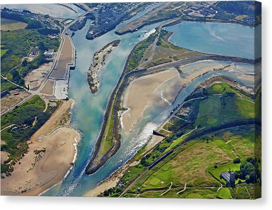 St Ives Canvas Print - Elevated View Of Hayle Estuary by Allan Baxter