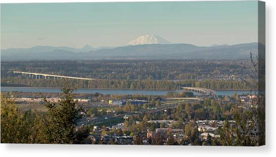 Mount St. Helens Canvas Print - Elevated View Of Interstate 205 Bridge by Panoramic Images