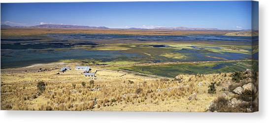 elevated view of Lake Titicaca, Peru, South America Canvas Print by Gavin Hellier / robertharding