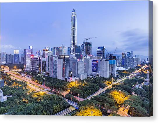 Elevated View Of Shenzhen Skyline Canvas Print by Liao Xun